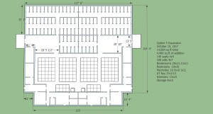 Dhamma Hall as it will be at the completion of Phase 1 build out; seating for 80 students, 60 mediation cells, AT residences, male/female interview rooms and auxiliary spaces.